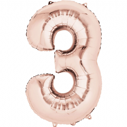 Number 3 Rose Gold Mini Air-Fill Foil Balloon